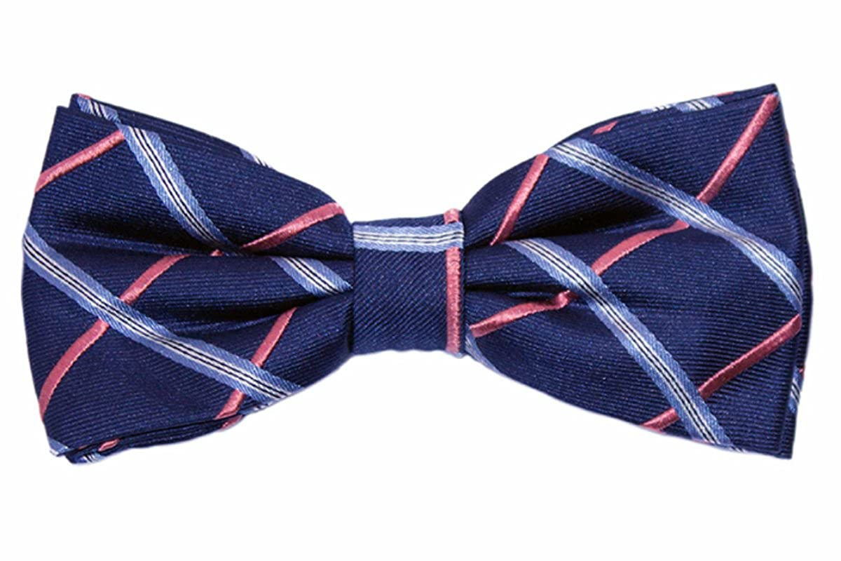 8d8362f2d9fe Navy Blue and Coral Bow Tie with Light Blue Check | The Baxley Bow Tie by  TieThis at Amazon Men's Clothing store: