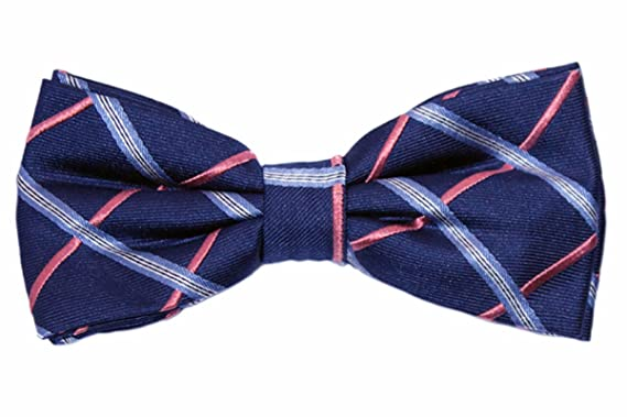 3875ed08909f Navy Blue and Coral Bow Tie with Light Blue Check | The Baxley Bow ...