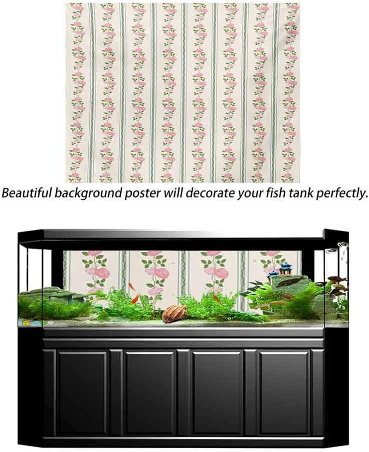 ScottDecor Floral Underwater World Backdrop Country Flower Roses Buds Swirls with White Borders Leaves Art Print PVC Self-Adhesive Decor Wall Pale Pink Blue and Green L36 X H24 Inch