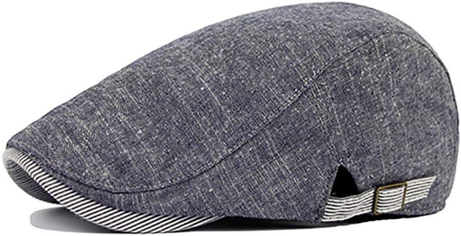 ZHOUBA Men Newsboy Caps Vintage Cowboy Retro Cotton Cap Duckbill Beret Sunhat Casual Hip Hop Hat Gatsby Hat Beige