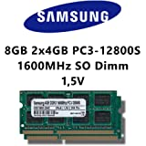 Samsung 8GB (2x 4GB) Dual-Channel Kit DDR3 1600MHz (PC3 12800S) SO Dimm Notebook Laptop Arbeitsspeicher RAM Memory