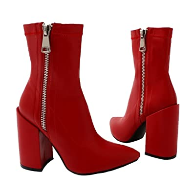 0825e9edb7d7 Public Desire Womens Renzo Sock Fit Pointed Ankle Boots Exposed Zip Shoes  Red PU UK 5