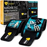 Wizsla Magnetic Wristband for Holding Screws, Tools, Set of 2 Sizes, Best Unique Christmas Gift for Men, DIY Handyman, Dad, Father, Husband, Him/Her, Men or Women (Blue)
