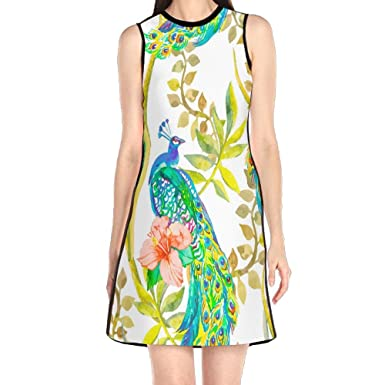 3ca46fbab1 MONILO Beautiful Peacock Women s Fashion Sleeveless Mini Dress Print Party  Dress Tank Dress