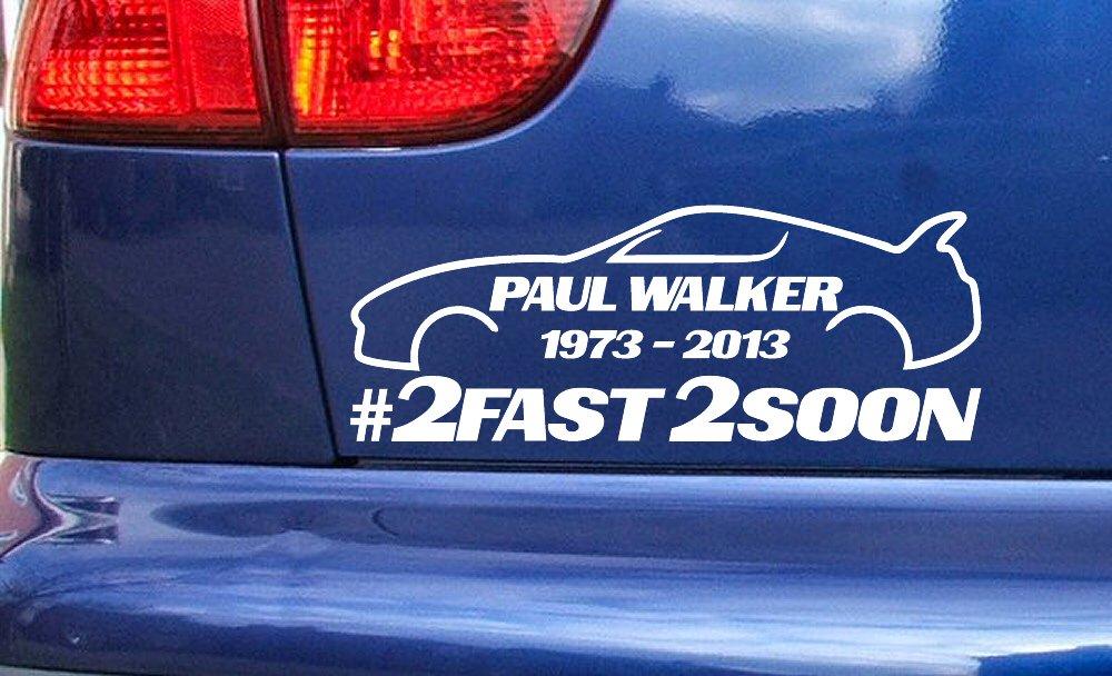 Pro Cut Vinyl Paul Walker ref:8 Supra 2 Fast 2 Soon RIP Memorial Hommage Or 400mm x 150mm Voiture fenêtre Vinyle Autocollants décalque Petit Grand Tailles Stickers