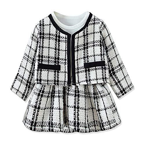 Toddler Baby Girl Preppy Style Plaid Cardigan and Long-Sleeve Dress 2-Piece Outfit Set 2-3 T