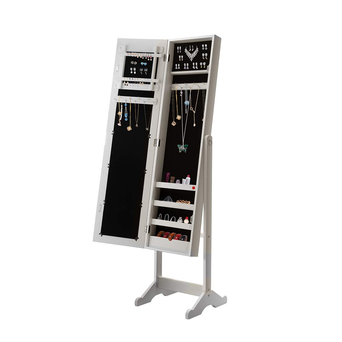 Giantex Jewelry Armoire Cabinet Organizer Storage Mirrored Stand with 4 Shelves for Makeup 18 Necklace Hooks 56 Rings 20 Earrings Slots Non Lockable Wood Standing Jewelry Armoire with Mirror (White)