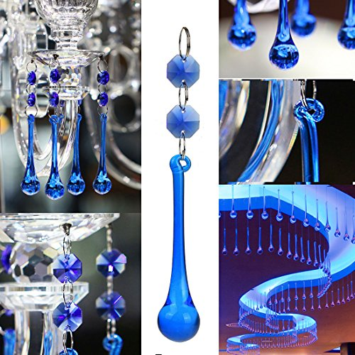 H&D 10pcs Crystal Raindrop With Octagon Beads Chandelier Prisms Pendants Lamp Curtain DIY Suncatcher Parts (Cobalt Blue) by H&D (Image #2)