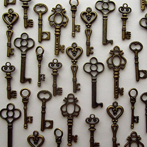 Salome Idea Skeleton Key Charm Set in Antique Bronze (48 Charms) 6 Different Styles - Vintage Style Key Charms (Bronze Color) (Vintage Key)
