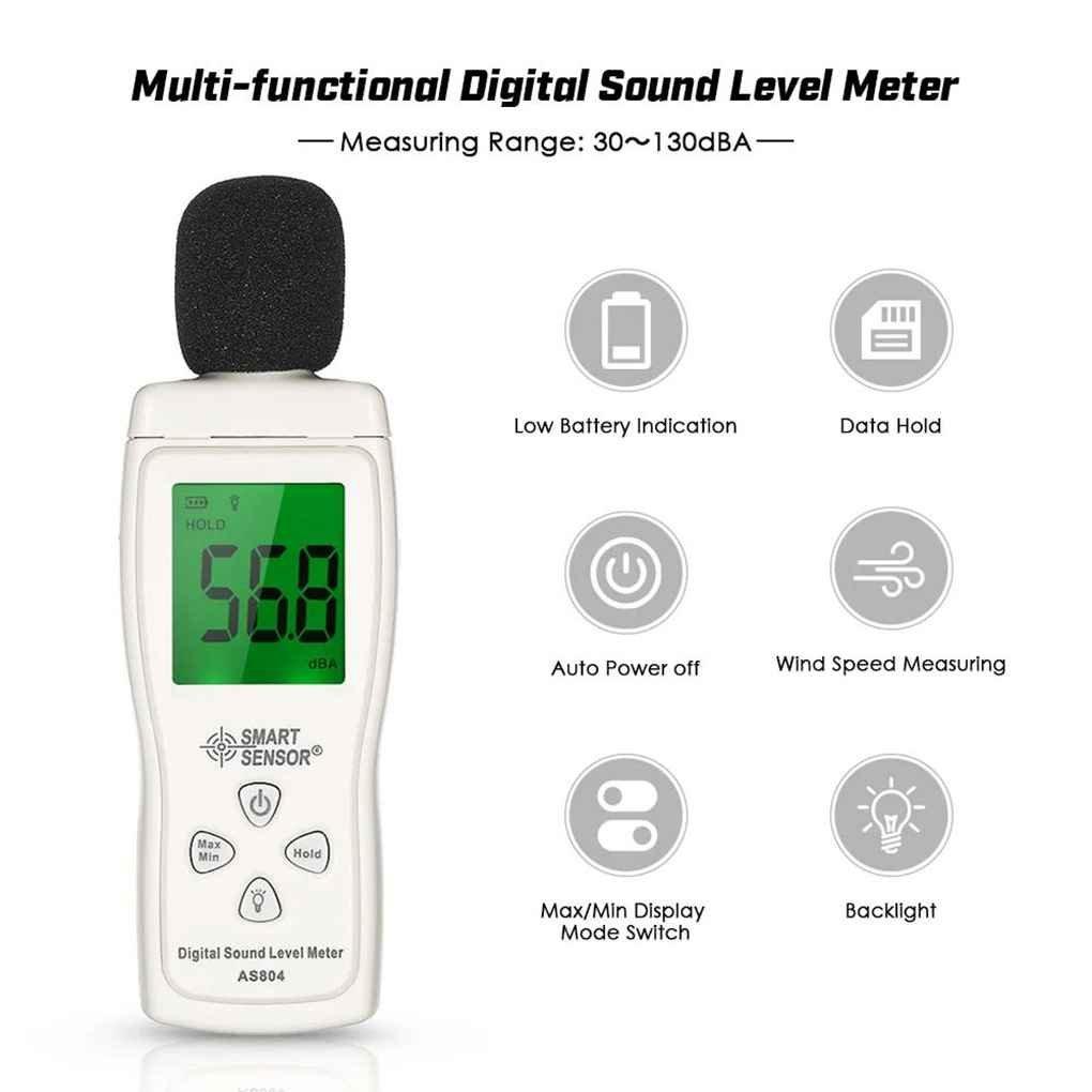 Lorsoul AS804 Digital de Nivel de Sonido de 30 dB 130 dB-Meter Tester de Ruido LCD port/átil DB del decibelio del Metro de Nivel