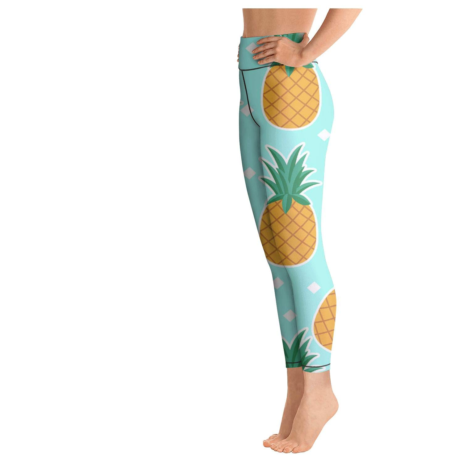 PROGIFToO Womens Workout Running Legging Pineapple Fruit Repeat Tummy Control Yoga Pants Essential