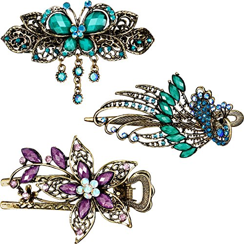 3 Pieces Women Hair Clips Hairpins Retro Vintage Metal French Barrette Jewelry, Purple Flower Green Butterfly Green Peacock (Style A)
