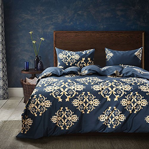 Navy With Goden Floral Textiles - Polyester 1PC Duvet Cover With 1PC Pillowcase No Filler Twin