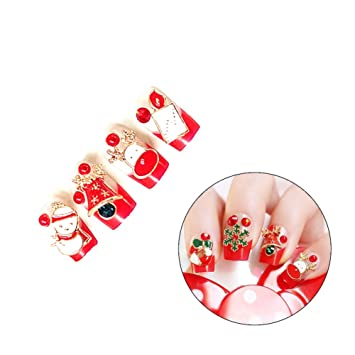 huuation nail art decoration christmas fake nail tips full cover acrylic false nails nail salons and