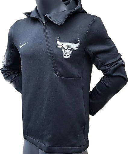 aec24f63 Nike Men's Dry-Fit NBA Chicago Bulls Therma Flex Half Zip Hoodie (Black Pine