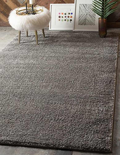 lection Plush Casual Gray Area Rug (5' x 8') ()