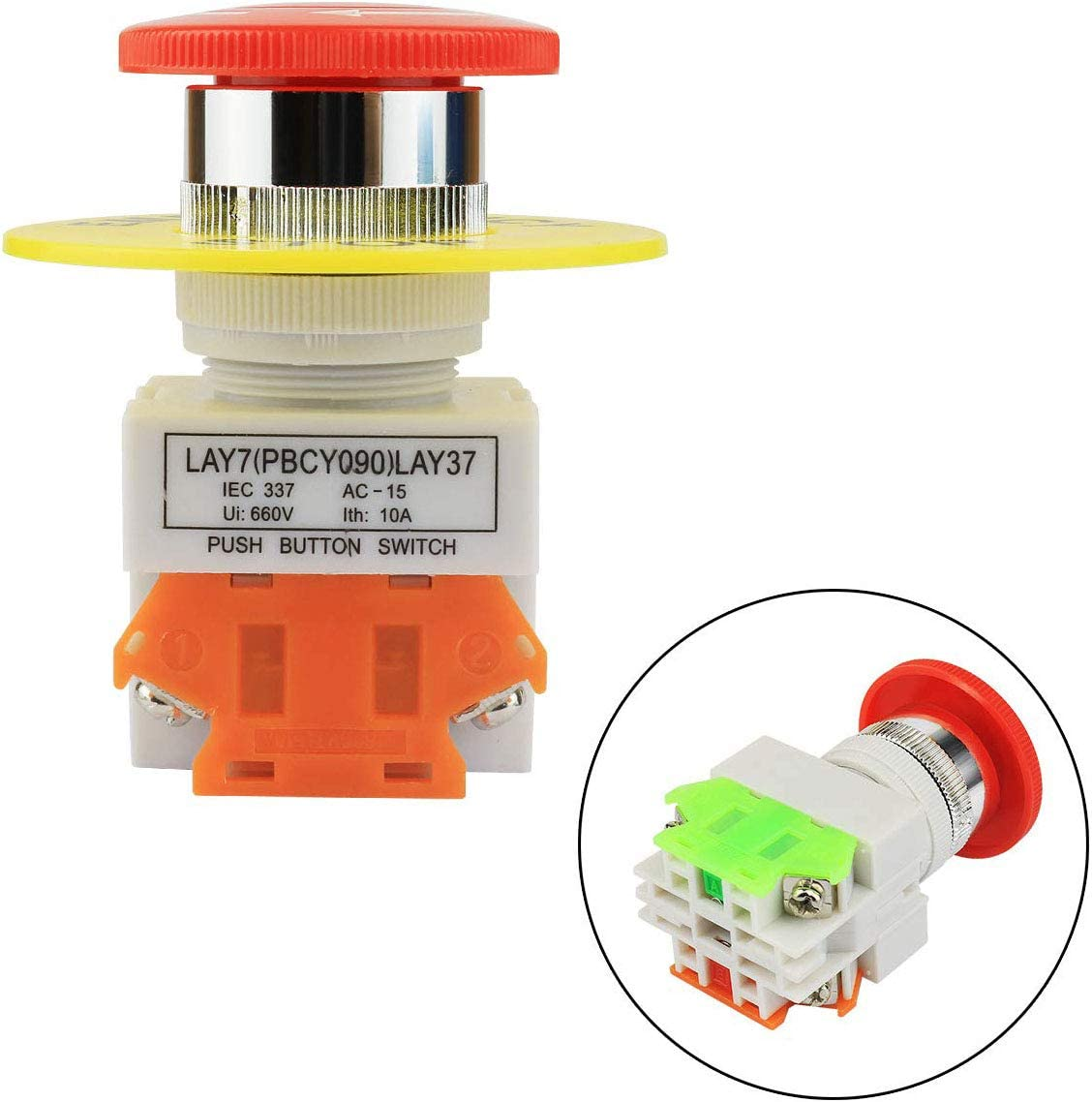 ToToT 2pcs Emergency Stop Push Button Switch AC 660V 10A Red Mushroom Cap 1NO 1NC DPST Switch Equipment Lift Elevator Latching Self Lock 22mm Mounting Hole LAY37-11ZS