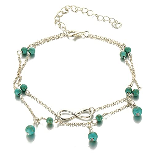 6a3f20e9285 Image Unavailable. Image not available for. Color  LOKOUO Vintage Star  Elephant Anklet Bracelet Boho Pendent Double Layer Anklets Bohemian Foot ...