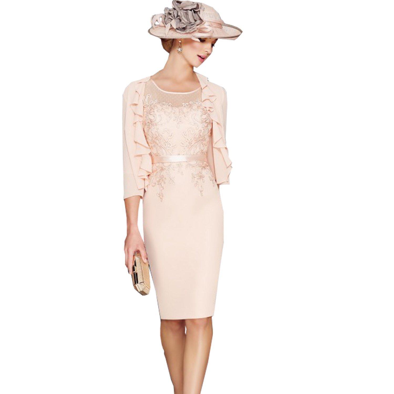 Fenghuavip Elegant Round Collar Light Pink Mid Long Bridal Mother Dress 2Pcs