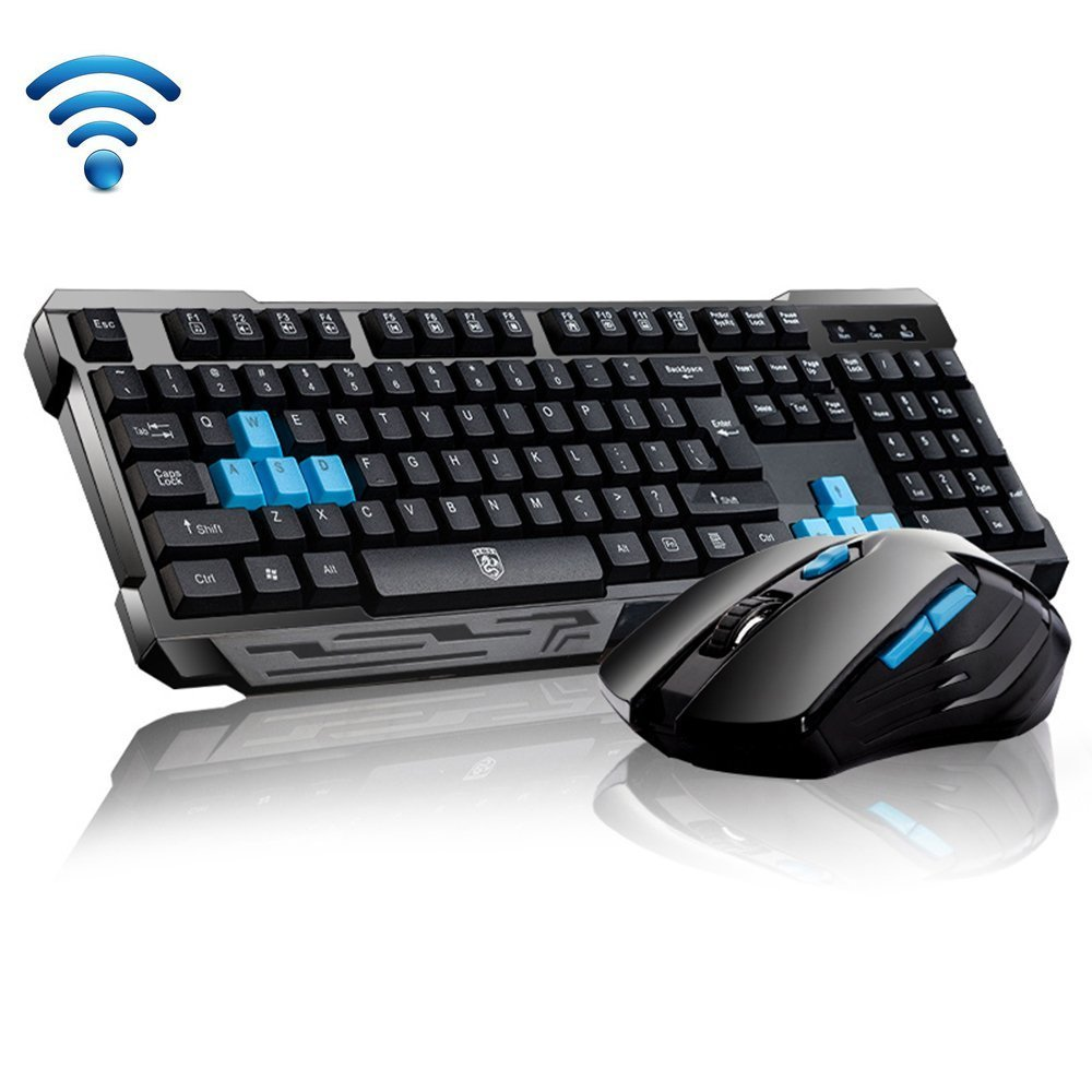 Keyboard Mouse Combos, Soke-Six Waterproof Multimedia 2.4GHz Wireless Gaming Keyboard with USB Cordless Ergonomic Mouse DPI Control for Desktop PC Laptop(Black)