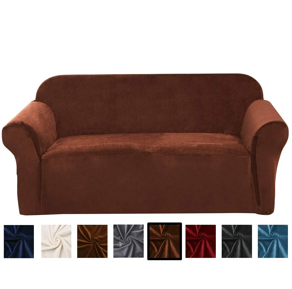 Strange Argstar Velvet Couch Cover Durable Stretch Sofa Covers And Couch Protector Walnut Brown Pabps2019 Chair Design Images Pabps2019Com