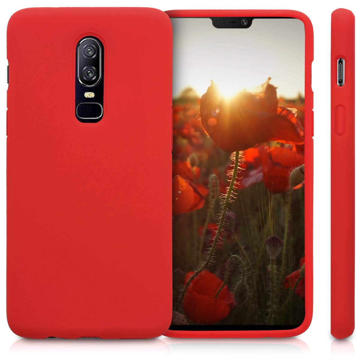 Carcasa de TPU para m/óvil Cover Trasero en Coral ne/ón kwmobile Funda Compatible con OnePlus 6T