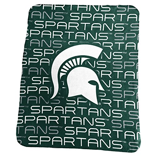 Logo Brands NCAA Michigan State Spartans Classic Fleece, One Size, Hunter Michigan State Fleece Blanket