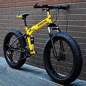 61pgNa 1t5L. SS300 AISHFP Fat Tire Mens Mountain Bike, Doppio Freno a Disco in Acciaio /-Alto tenore di Carbonio Telaio Cruiser Bikes, 7…