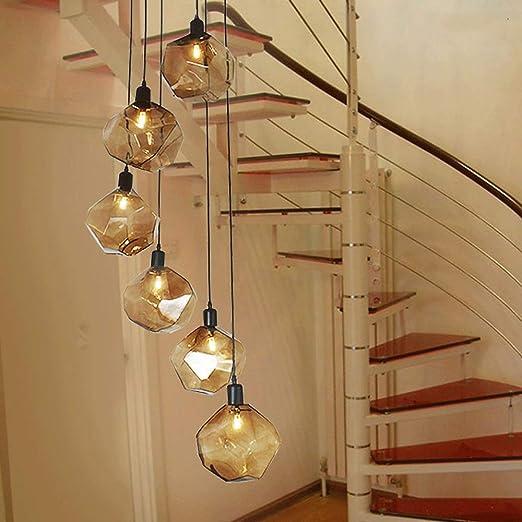 Mlshlf lamp Múltiples Luces Bolas de Vidrio Araña en Espiral for escaleras Edificio Duplex Luz Colgante Villa Hollow Sala de Estar Apartamento pequeño Loft Giro Araña Larga (Size : 6 Balls): Amazon.es: