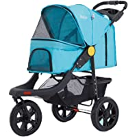 Pet Stroller Pet Trolley Dog cart Foldable cat cage Outdoor Travel pet Bag Shopping cart can Bear 20kg Strollers (Color : Blue, Size : 57 * 98 * 105cm)