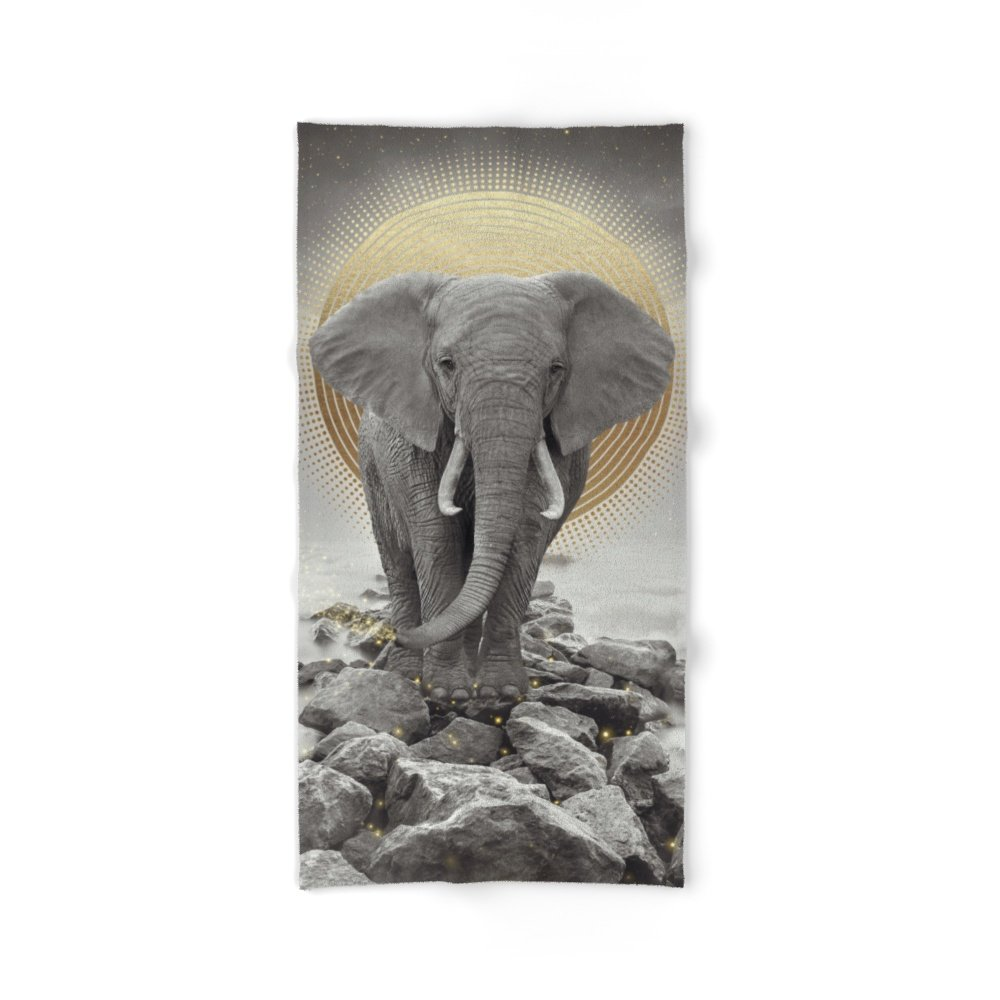 "Society6 Strength & Courage (Stay Gold Elephant) Bath Towel 64""x32"""