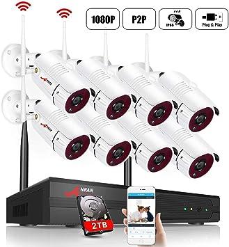 2MP WLAN 8CH NVR Funk Überwachungskameras System CCTV Audio Set Außen Nachtsicht