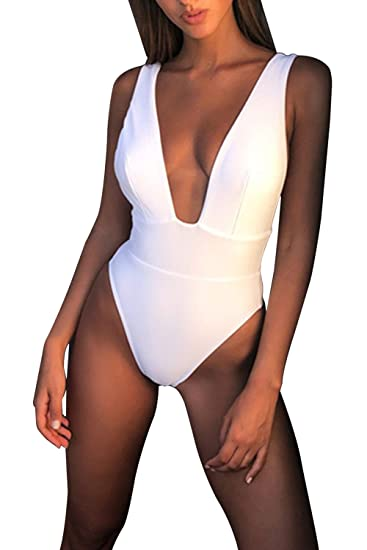 64ed9e232e8 Linsery Womens Tummy Control One Piece Swimsuit Plunging V Neck Removable  Pad Backless Bathing Suit White