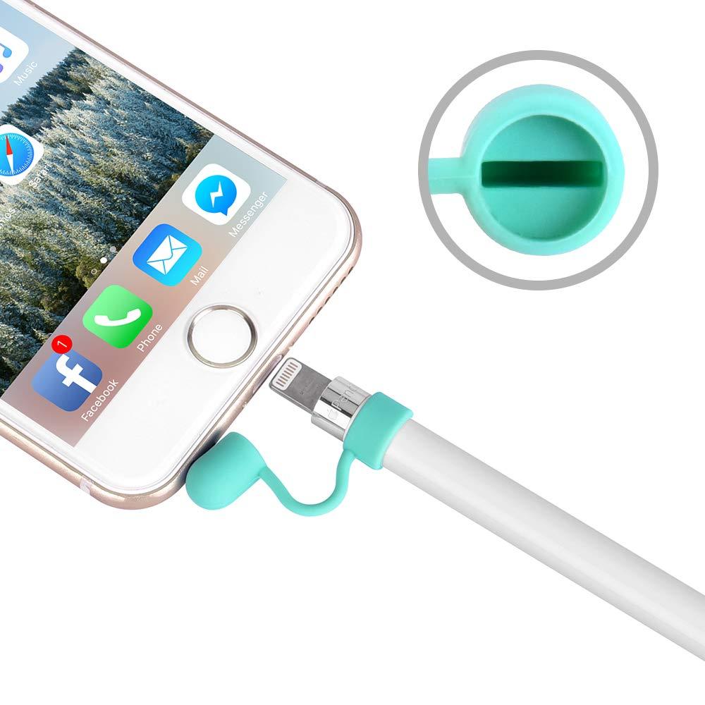 Silicone Cable Adapter Tether con 2 Pencil cap Holder e 2 Pennino Cover per iPad PRO 9.7/10.5/12.9 5 in 1 Verde Hydream Tappo per Apple Pencil-iPad Matita Sostituzione cap di Ricambio Accessori