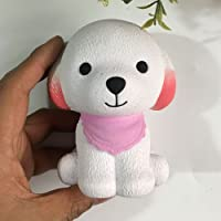 FUNCOCO Kawaii Scented Slow Rising Squishy Charms Squeeze Kid Toy for Stress Relief and Time Killing, Dute Dog (Pink)