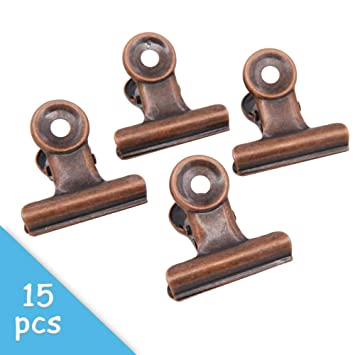 Amazon.com: 15 pinzas de cobre rojo Bulldog de 1.220 in ...
