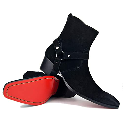 Bottes Hommes Bottes à Talons Hauts Chaussures habillées Hommes Bottes à glissière Taille