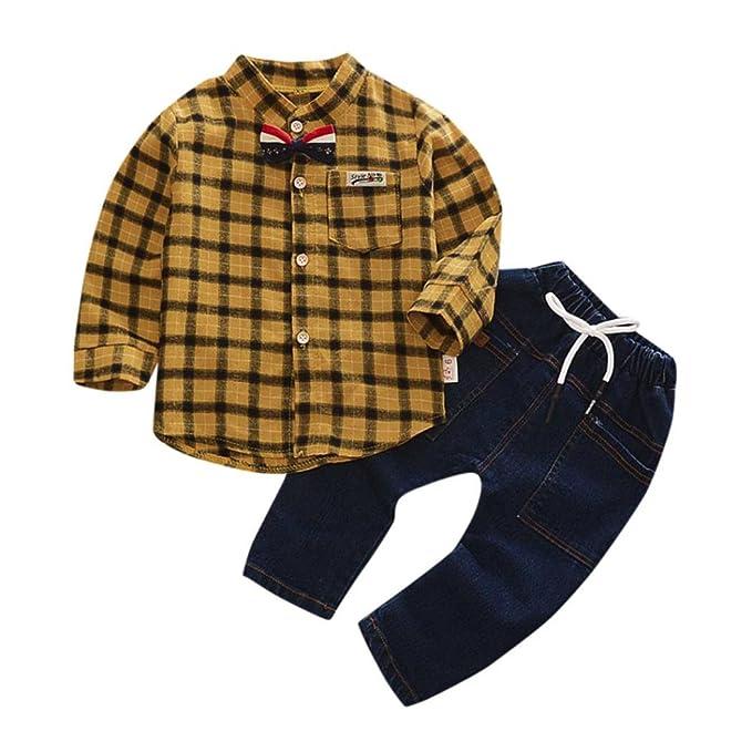 8dac3d3f5 2PCS Bebé Cuadros Camisa+Denim pantalones ropa Conjunto