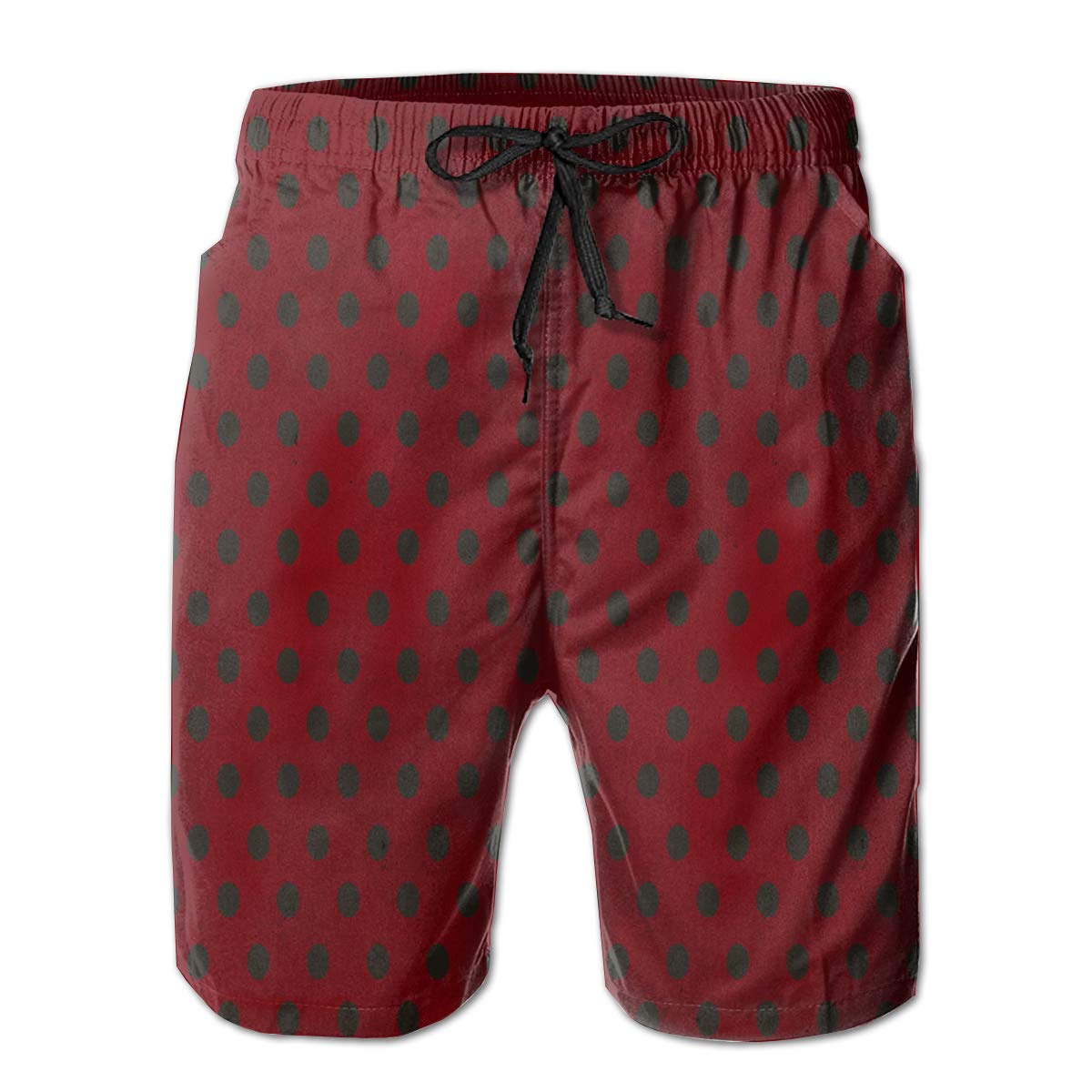 Red Polka Dots Mens Beach Shorts Linen Casual Fit Short Swim Trunks