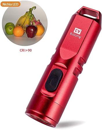 rojo 550 l/úmenes Super brillante exterior EDC Mini llavero recargable LED linterna aluminio bater/ía de iones de litio integrada 45 minutos de carga r/ápida A3 resistente al agua IPX-65