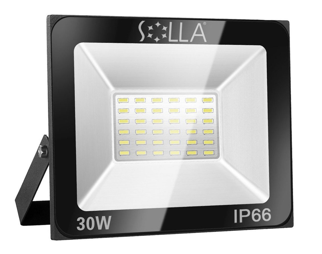 30W LED Floodlight IP66 Waterproof Outdoor Security Light, 2400LM, 6000K Daylight White, Outdoor Flood Light Wall Light for Yard, Garage, Warehouse, Parking Lot, Garden - 24 Month Warranty [Energy Class A+] SOLLA