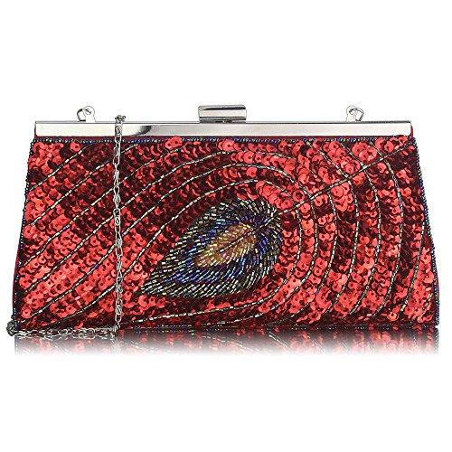 TrendStar Damen Kupplungs Taschen Damen Berühmtheit Stil Feder Kupplungs Kasten Handtaschen Rot