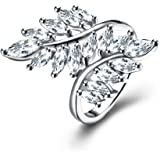 Angel Feather Wing Round Cut Zircon CZ Wedding Band Full Finger Ring For Women Wife Party Wear Bridal Set