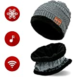 Wireless Bluetooth 4.2 Headphones Beanie Hat and Scarf Set – Beanie For Jogging, Travel or Running – For Men Women – Warm Music Hat – Built-in Microphone – Washable Knit Hat