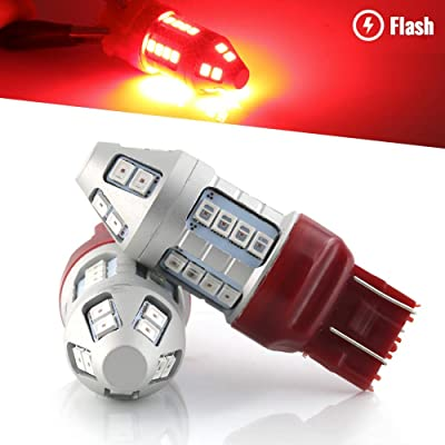 Syneticusa Red Flashing Strobe Blinking Rear Alert Safety Brake Tail Stop High Power LED Light Bulbs (7443): Automotive