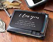 Engraved Wallet Insert For Husband, Cute Valentine's Day Card Alternative, I Love You Note, Perfect Anniversary Gifts for Him