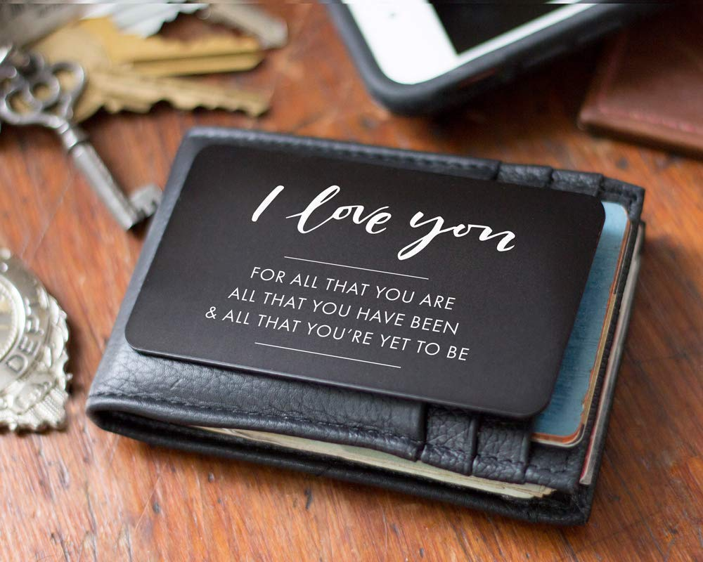 Amazon Com Engraved Wallet Insert For Husband Cute Valentine S Day Card Alternative I Love You Note Perfect Anniversary Gifts For Him Boyfriend Valentine Handmade