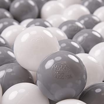 KiddyMoon 50 /∅ 7Cm//2.75In Soft Plastic Play Balls For Children Colourful Certified Made In EU Grey//White//Red//Black
