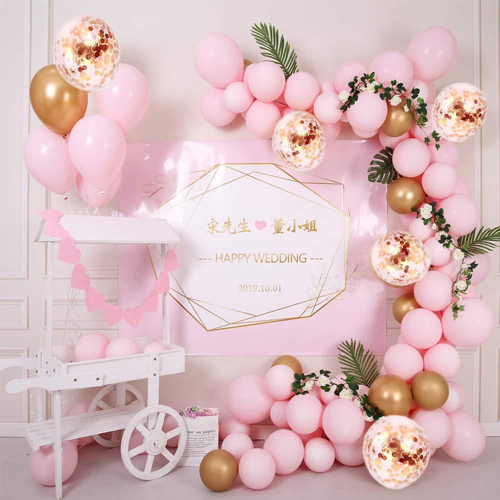 Laurea Arco Palloncini 5M 117PCS Matrimonio Ghirlanda Sposi Decorazioni Rosa Palloncini Oro Palloncini con Coriandoli Metallico Palloncini per Matrimonio Compleanno Cerimonia Party Decorazioni Baby Shower
