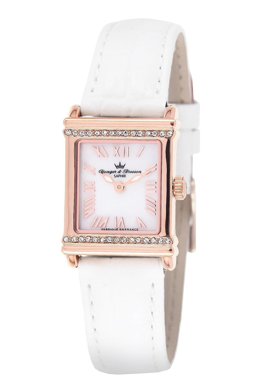Yonger & Bresson – DCR 1695 – 02 Damen-Armbanduhr – Quarz Analog – Ziffernblatt Perlmutt – Armband Leder Weiß